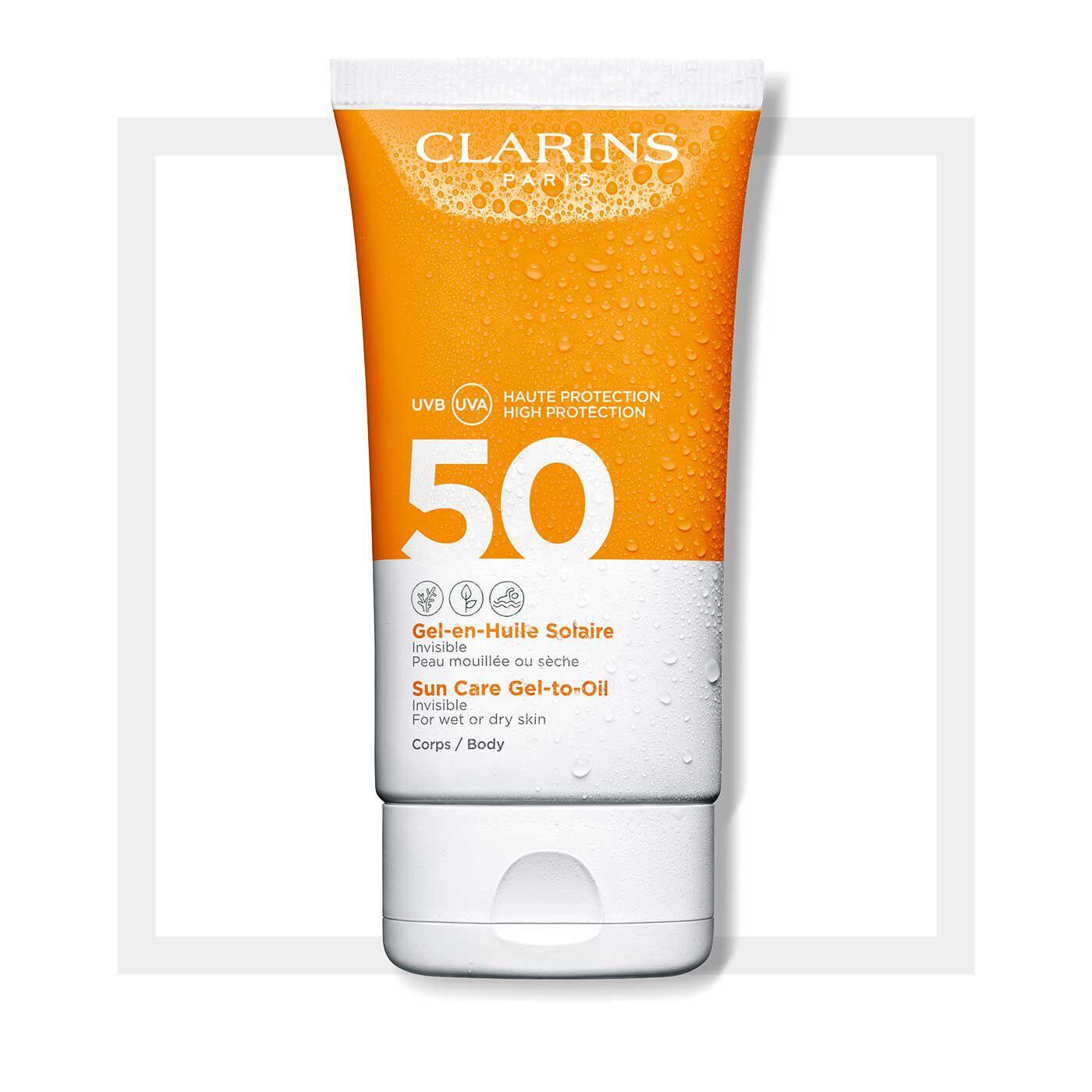 Transparenter Öl-in-Gel Sonnenschutz für den Körper UVA/UVB 50