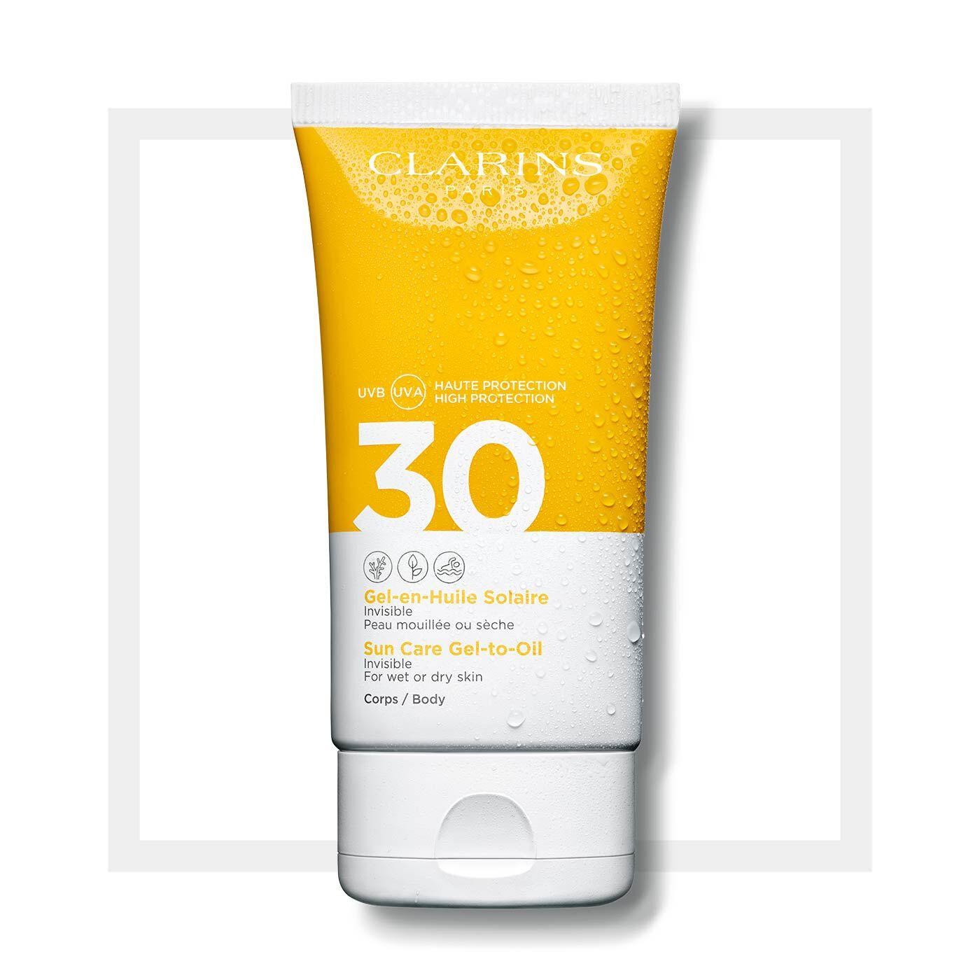 Transparenter Öl-in-Gel Sonnenschutz für den Körper UVA/UVB 30
