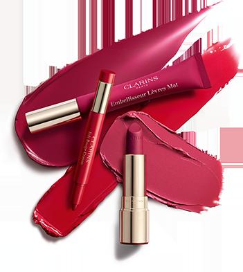 Die drei neuen Produkte der Lippenstift-Kollektion: Joli Rouge Crayon, Velvet Lip Perfector und Joli Rouge Velvet